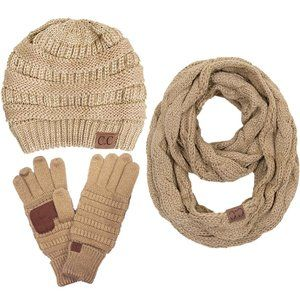 C.C 3pc Metallic Knit Beanie Gloves Scarves Set